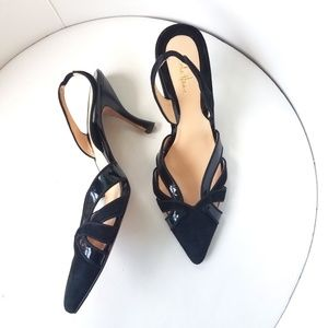 Cole Haan Shoes - Cole Haan Suede and Patent Leather Slingback Heels